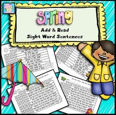 Sight Word Sentences Add and Read for Spring. These games serve 3 purposes: 1) Students can practice sight word recognition. 2) During the game, students will have to read several sentences more than once, which increases fluency. AND 3) They can practice addition at the same time! $