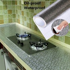 Kitchen Oil proof Waterproof Stickers Aluminum Foil Kitchen Stove Cabinet Self Adhesive Wall Sticker DIY Wallpaper-in Wall Stickers from Home & Garden on AliExpress Kitchen Foil, Kitchen Stove, Kitchen Walls, Buy Kitchen, Kitchen Cutlery, Kitchen Drawers, Kitchen Dining, Kitchen Decor, Cheap Wall Stickers