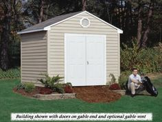Sentry low maintenance storage shed with a 10 year warranty Traditional Sheds, Vinyl Sheds, Gable Vents, Vinyl Siding, Outdoor Structures, Windows, Building, Storage, Home