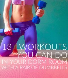 13+ Workouts to do in your Dorm Room with a pair of Dumbbells #fitness #health #workout || lushiousLIFTS.com