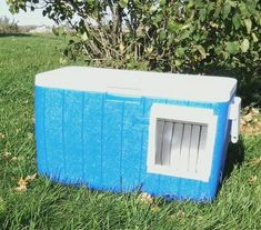 A sawsall + insulated cooler = a warm outdoor cat house.