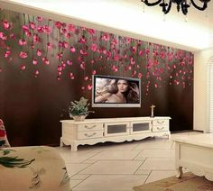 Wall Murals Wall Paper Mural Luxury Wallpaper Bedroom for Walls Home Decoration Grande Fresque Murale Paysage Red Flower mura Home Decor Hooks, Tv Wall Decor, Luxury Wallpaper, Home Wallpaper, Wallpaper Direct, Modern Wall Decals, Living Room Themes, Floral Bedroom, Stencil Painting On Walls