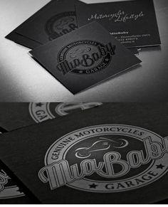 Motorcycle Business Card.  Black on black.  #design #inspiration #black #business cards