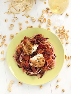 Beet and Anjou Pear Noodles with Warm Bacon-Pistachio Dressing & Baked Goat Cheese - Inspiralized