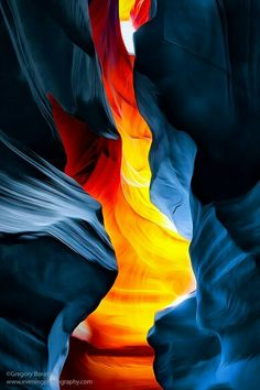"""""""The Glower"""" - Photography: Gregory Boratyn Upper Antelope Canyon, Arizona at the """"Magic Hour"""". The center part of the image became lit up by the Sun through a small crack in the ceiling of the canyon when the Sun moved to its zenith position. Apple Wallpaper Iphone, Galaxy Wallpaper, Cellphone Wallpaper, Cool Wallpaper, Phone Backgrounds, Wallpaper Backgrounds, Landscape Photography, Nature Photography, Call Art"""