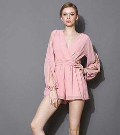 Buy OEM 100% Chiffon Ladies Romper Sexy Long Sleeve Women JumpsuiteWomen's Clothing on bdtdc.com