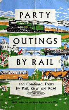 Party Outings by Rail, 1959 - original vintage poster by Francis A Beck listed on AntikBar.co.uk