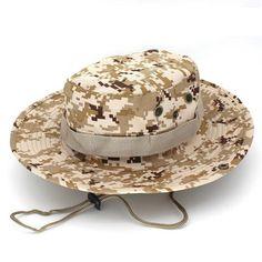 3c440953865 Bucket Hats Military Camo Hat For Men Jungle Fishermen Hats With Wide Brim  Sun
