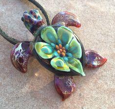 Baby sea turtle necklace glass beads pendant Handmade custom jewelry Lampwork beads Glass flowers Boro beads by RyanJesseeglass on Etsy https://www.etsy.com/listing/217636751/baby-sea-turtle-necklace-glass-beads