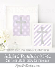 Silver Glitter Cross Wall Art - Pale Lavender White Set of 2 Printable Signs Baby Girl Baptism Decorations, Religious Christian Nursery Art by SprinkledDesigns.com