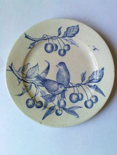 Gorgeous antique French ceramic blue white plate decorated charming birds cherries insect transferware vintage authentic original glazed
