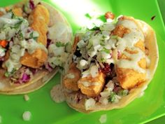 Yayo's Mahi Mahi fish tacos with cilantro cream sauce - sound delicious!