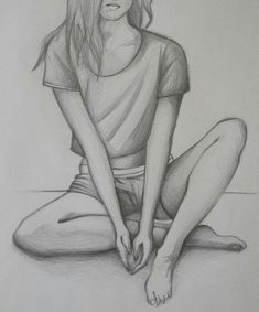 Girl Drawing Sketches, Art Drawings Sketches Simple, Pencil Art Drawings, Easy Drawings, Sketch Art, Drawing Ideas, Drawing Artist, Drawing Tips, Sad Girl Drawing