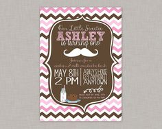 Cookies and Milk Invitation Mustache by thepaperblossomshop
