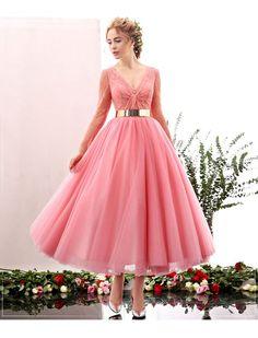 Deep V Long Sleeves Tea Length Dress