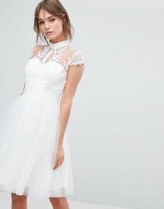 Chi Chi London Mini Tulle Skater Dress With Lace Collar