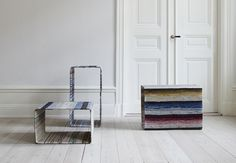 lars hofsjö recycles swedish rag rugs into torp and dunker tables - designboom Cool Furniture, Modern Furniture, Furniture Design, Furniture Inspiration, Interior Design Inspiration, Sustainable Design, Magazine Design, Design Crafts, Decoration