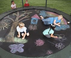 Use sidewalk chalk to create a masterpiece on your trampoline! I haven't tried this yet, but plan to, as I know my kids would love it! Great for supporting PICTUREsmart, BODYsmart, PEOPLEsmart, and SELFsmart