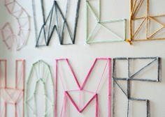 adornar mi cuarto con letras de estambre en la pared