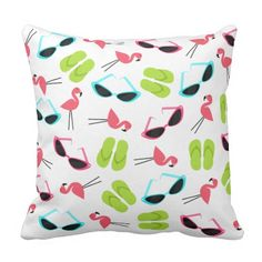 Flamingos Flip Flops & Sunglasses Pillow