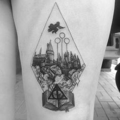 Vintage Illustration Harry potter hogwarts etching style blackwork tattoo by Alexandyr Valentine