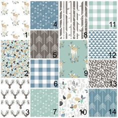 New to HudsonBabyCompany on Etsy: Crib bedding - blue mint teak - deer arrows and aztec themes - fawn over me with stag prints arrows flowers vanes (20.00 USD)