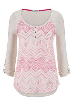 chevron stripe chiffon front henley top (original price, $29) available at #Maurices