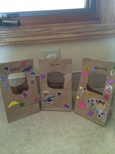 Home made Easter baskets  Made with paper bag.