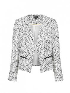 This textured boucle jacket is a lightweight layering piece. // Zip Detail Boucle Blazer by Topshop