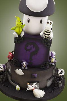 The Nightmare Before Mario Mashup Wedding Cake