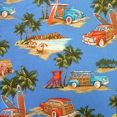 Retro Hawiian woody cars and surfboards, vintage style Blue 1/4m Cotton FABRIC | eBay