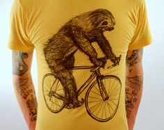 SLOTH on a Bike - American Apparel Mens T Shirt -Heather Gold on Etsy, $24.00