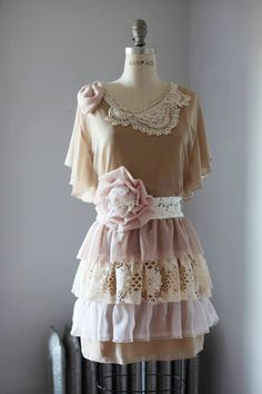 this dress can be in any color and size #customade #faerie  #clothing #scraps #lace #flowers http://misMATCHit.com