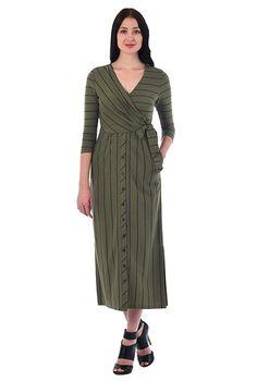 Surplice stripe cotton knit midi sheath dress #eShakti