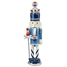 "Northlight 12"" Decorative Blue White and Silver Wooden ""Pepsi-Cola"" Christmas Nutcracker King"