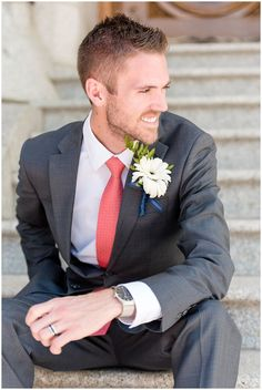 Salt lake temple spring wedding coral and grey wedding groom pictures on th Coral Groomsmen, Groomsmen Attire Grey, Groom Attire, Groom And Groomsmen, Tuxedo Wedding, Wedding Groom, Temple Wedding, Wedding Coral, Spring Wedding