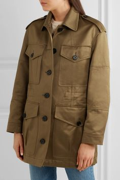 Burberry - Cotton-sateen Jacket - Army green - UK12