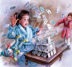 House of cards Children's Book Illustration, Illustrations, Marcel, Vintage Posters, Vintage Art, Decoupage, Puzzle Art, Color Pencil Art, Ad Art