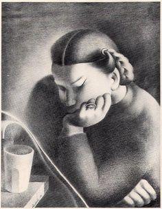 Sarah Affonso  (Companheira e amante de toda a vida de Almada. )  Lápis sobre papel ,1938.   José de Almada Negreiros (1873 - 1970 )