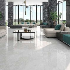 With an attractive and varied surface this surprisingly elegant polished tile is perfect for walls and floors.The image shows Kavala Gris on the floor Available in two shades Gris-Marengo Living Room Tiles, Marble Flooring Design, House Flooring, White Marble Floor, Marble Tile Floor, Elegant Tiles, Marble Living Room Floor, Marble Floor Kitchen, Elegant Tile Flooring
