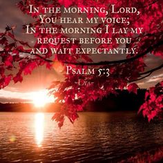 Psalm 5:3 ~ In the morning, Lord, You hear my voice; In the morning I lay my request before You and wait expectantly...
