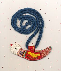 Necklace. Embroidered Bird. Made out of wool felt by elsita
