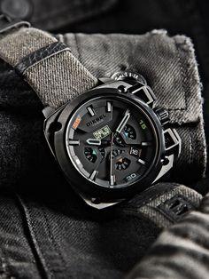 Diesel DZ7366 BAMF Men's Limited Edition Denim Black Strap Watch