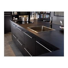 Kitchen island with induction hob, sink and mixer tap - IKEA Kitchen Stools, Ikea Kitchen, Kitchen Interior, Kitchen Cabinets, Black Cabinets, Kitchen Hob, Kitchen Island With Sink, Open Plan Kitchen, Kitchen Islands