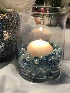 Teal Light Blue Pearls, Diamond Confetti Vase Fillers 500pc Small Pearls No Holes