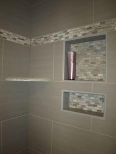 Bianco Cream Granite corner shelf and custom tile recessed shelves   Ohana Construction Inc.