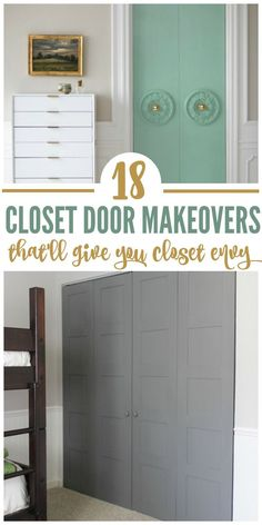 Are you tired of your plain old closet doors? We have plain bi-fold doors, and they're the worst! So on our quest to spruce them up, we've found 18 closet door Wooden Closet, Painted Closet, Closet Bedroom, Closet Doors Painted, Old Closet Doors, Closet Door Makeover, Diy Closet, Door Makeover Diy, Closet Makeover