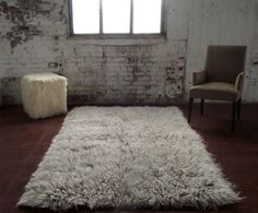 """Stylish 4' x 6' Gray white blend flokati shag rug. Thick and plush 3.25"""" shag pile. 100% wool no synthetics! Imported from Greece"""