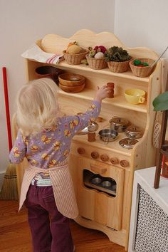 Let Imagination Soar with All-natural Wooden Children's Toys - Waldorf Playstands, Wooden Play Kitchens, Solid Wood Dollhouses, Toy Barns and Stables, Wooden Toy Castles. Wooden Play Kitchen, Kids Play Kitchen, Play Kitchens, Play Spaces, Kid Spaces, Old Entertainment Centers, Corner House, Kids Corner, Kids Furniture