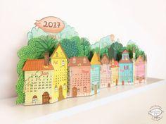 Calendario 2017 | Calendario de escritorio de paisaje 3D hecho de papel | Plantilla imprimible A4 BRICOLAJE | Instantánea descargar | Pueblo rustico regalo bonito estante